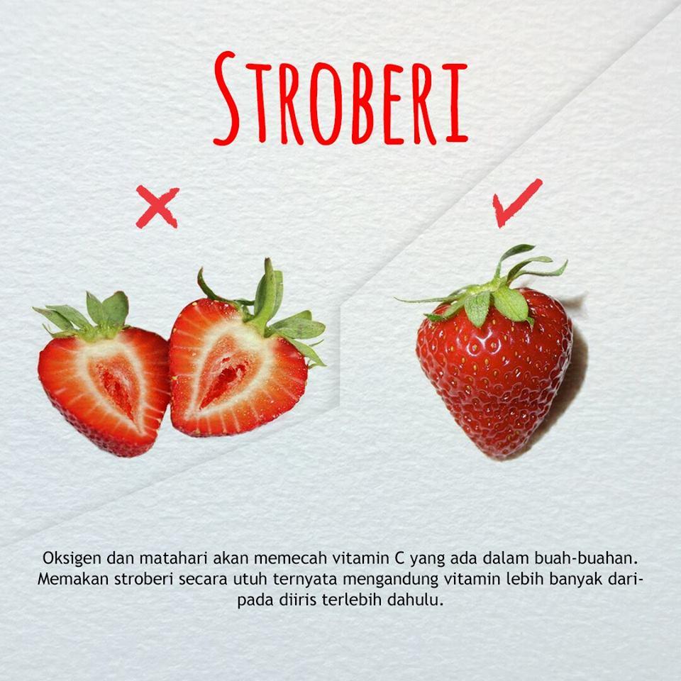 cara benar memakan stroberi