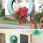 hiasan bunga dan dinding dari ban bekas