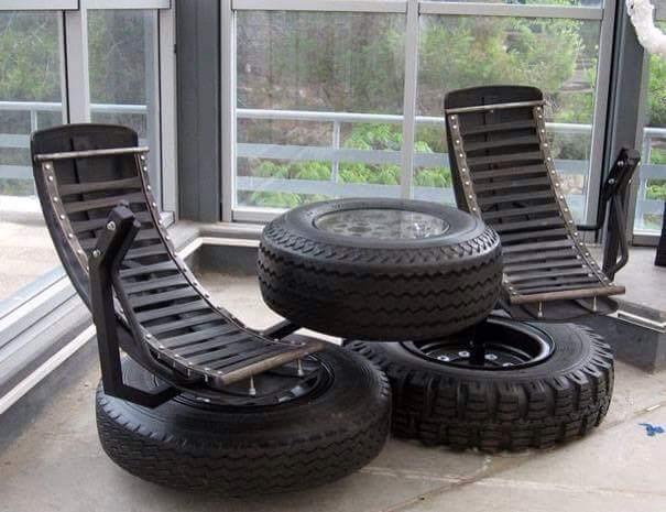 kursi santai dari ban bekas