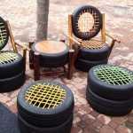 meja dan kursi dari ban bekas